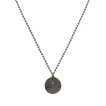 0.01ct Diamonds in 925 Sterling Silver & 24K Gold Talismanic Evil Eye Lucky Charm Necklace