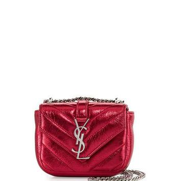 Saint Laurent Monogram Micro Quilted Leather Crossbody Bag, Elect