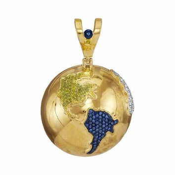 10kt Yellow Gold Mens Round Blue Color Enhanced Diamond Globe Planet Earth Charm Pendant 1-1-8 Cttw - FREE Shipping (USA/CAN)