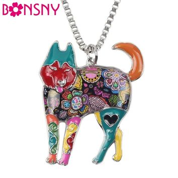 Bonsny Statement Alloy Enamel Siberian Husky Necklace Dog Jewelry Chain Collar Sibirskiy haski Pendant  New  Jewelry For  Women