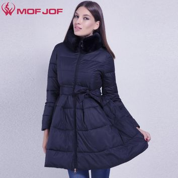 MOFOF Women Winter Jacket skirt light fabric soft faux fur removable high collar Warm Winter  coat female outerwear parkas