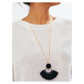 Black Gold Pom Pom Tassel Pendant Long Necklace