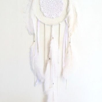 OOAK large white lace bohemian Dream Catcher // home decor, white, lace dream catcher, doily, bohemian, spirit tribe