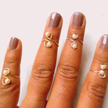 Pearl Beaded Stackable Above Knuckle Rings, Adjustable Midi Ring, Slim Stackable rings, Edgysheeq statement rings for everyday Flair