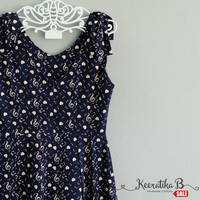 SALE - Simply spring summer sundress navy dress note melody print Bow shoulders Pleated party dress Tea Dress Small