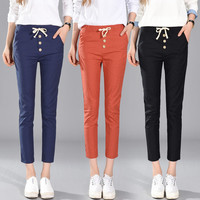 Autumn Korean High Waist Pants Casual Cropped Pants [8664672263]