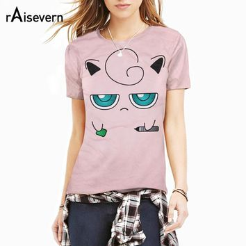 Raisevern New 3D T Shirt Kawaii Pink Jigglypuff T-Shirt Cartoon Pokemon Character Print Fashion Tee Tops Summer Style Dropship
