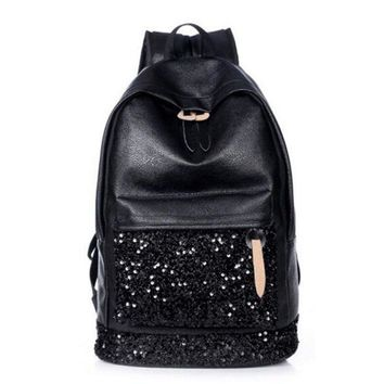 Women PU Leather Casual Fashion Beaded Sparkle Backpacks