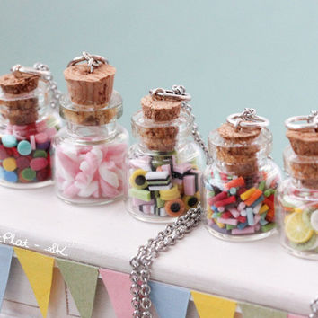 Custom Rainbow Candy Jar Necklace - Marshmallow, Licorice, Sprinkles or Fruit
