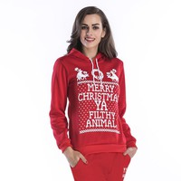 Christmas Element Letter Pattern Print Loose Casual Thickened Long Sleeve Hooded Sweater Women Tops