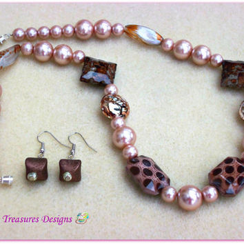 Soft Romance-Handmade Jewelry Set-2 Piece Ladies Necklace & Earrings-Trending-Beadwork-Ladies Jewelry-Handcrafted-Gifts for Her-Gift Ideas