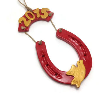 Good Luck Decoration, Horseshoe Wall Decor, 2015 Good Luck Charm, New Years Gift, Christmas Gift