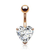BodyJ4You Rose Goldtone Big CZ Heart Belly Button Ring