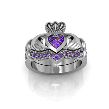 Sterling Silver Amethyst  Claddagh  Love and  Friendship Engagement Ring Set