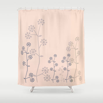 grey branch on pink Shower Curtain by Clemm