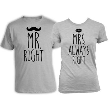His and Her Shirts Bride and Groom Gifts Wedding T Shirts Husband and Wife Shirts Mr Right Mrs Always Right