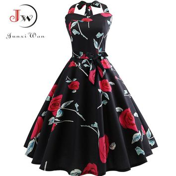 Women Summer Elegant Halter Sexy Party Dress Casual Floral Print 8cc1aaa091bc