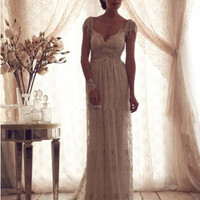 Vintage Anna Campbell Wedding Dresses Lace Bridal Gowns Backless Beach Bride Dresses Cap Sleeves Tassel Wedding Gowns