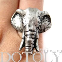 LIMITED TIME SALE: Realistic Detailed 3D Adjustable Elephant Animal Ring in Silver