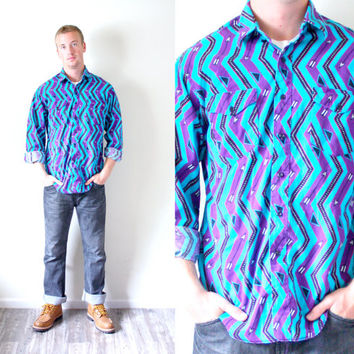 Vintage mens aztec // blue purple navajo button up shirt // tribal print shirt // southwestern print shirt // chevron // hipster shirt