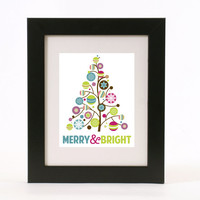 merry&bright abstract holiday christmas tree wall art 8x10 custom color print