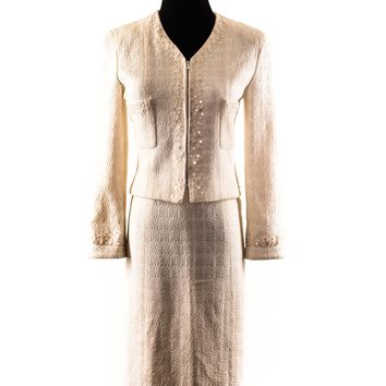 Chanel Cream Tweed Suit