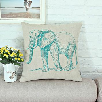 Teal Elephant Throw Pillow