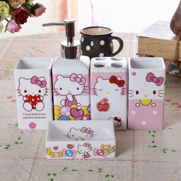 Hello Kitty  Toothbrush Holder Ceramic Bathroom Five Times Bathroom Products Covered 5 Times Ceramic Toiletries Suits