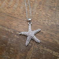 Rhinestone Starfish Necklace - Silver Starfish Necklace