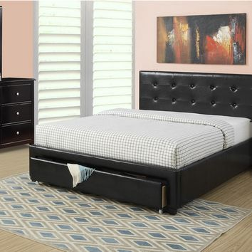 4 pc upton ii collection black faux leather upholstered and tufted queen bed set with under bed drawer