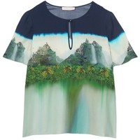 Landscape print multi-coloured silk top Matthew Williamson