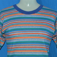 90s Bugle Boy Multi-Color Striped Surf t-shirt Youth Extra-Large