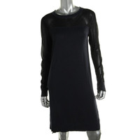DKNYC Womens Knit Sheer Sleeves Sweaterdress