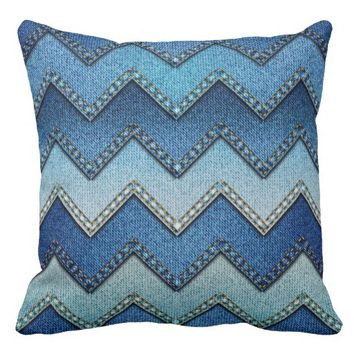 """Patchwork Denim/Chevron"" THROW PILLOW"