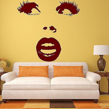 Wall Sticker Vinyl Decal Beautiful Woman Face Surprised Eye Lips Makeup (ig1364)