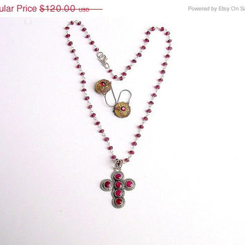 Ruby Cross, Natural Ruby Pendant, Red Garnet Necklace, Sterling Silver, Ruby -Garnet Lover Gift