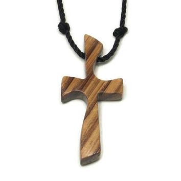 Cross Necklace - Mens Wood Cross - Zebrawood Necklace -Carved Cross Pendant - Men's Cross Necklace - African Zebrawood - Gifts for Him