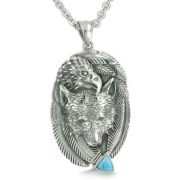 Wolf Eagle Unity Feathers Simulated Turquoise Arrowhead Pendant 22 Inch Necklace