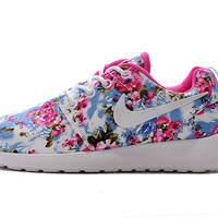 custom nike free roshe run sneakers athletic women shoes with print fabric flowers print,crystal swarovski or both