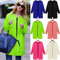 Women's Knitted Cardigan Long Pattern Outwear Loose Sweater Coat  18550