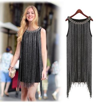 HALTER-NECK FRINGE BEADED WOMAN DRESS GREAT GATSBY OMBRE METAL Latin Dance BODYCON 1920S FLAPPER CHARLESTON SEXY PARTY DRESS