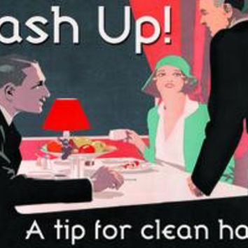 Wash Up! A Tip for Clean Hands: Fine art canvas print (12 x 18)