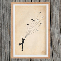 Vintage Boy Flying With Birds Print Antique Wall Art