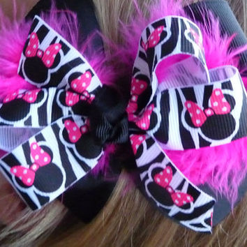 Pink and Black Minnie Mouse Hair Bow by bowsforthebelle on Etsy
