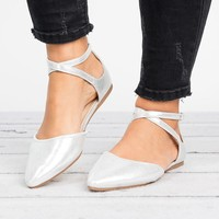 Strappy Pointed Toe Flats - Silver