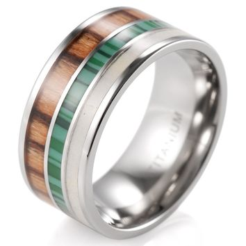 Titanium and Wood Antler Ring Tamarind Mens Wedding Band Tamarind Wood with Antler & Malachite Ring