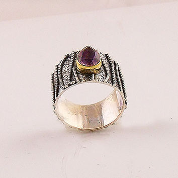 Amethyst Two Tone Sterling Silver Textured Band Ring