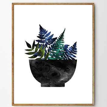 Bowl of Ferns - Fern Art, Botanical Art, Floral Art, Scandinavian Design, Fern Print, Kitchen Art, Nature Art
