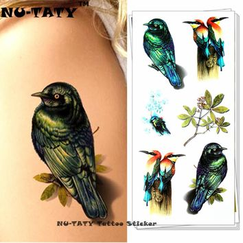Nu-TATY Peace Swallow Bird 3d Temporary Tattoo Body Art Flash Tattoo Sticker 19*9cm Waterproof Styling Tatoo Home Decor Sticker