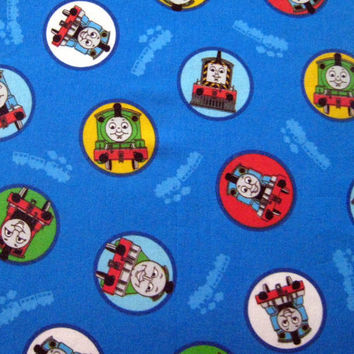 Thomas the Tank Engine Train  Cotton Fabric 1/2 yard units - Blue - Sewing Quilting - Destash